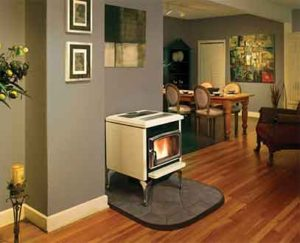 pacific energy 2 estufa de leña blanca salon